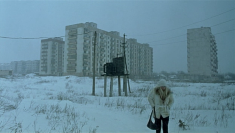 "Ukrainian apartment blocks - still from Ulrich Seidl's ""Import / Export"""